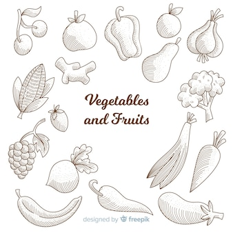 Healthy food sketches collection