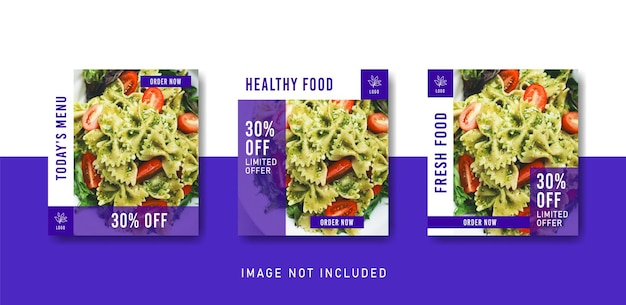 Healthy food social media instagram post template in purple color style