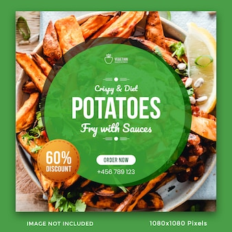 Healthy food social media post banner template