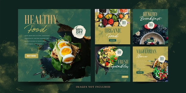 Healthy food social media promotion for instagram post template