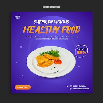 Healthy food social media template design