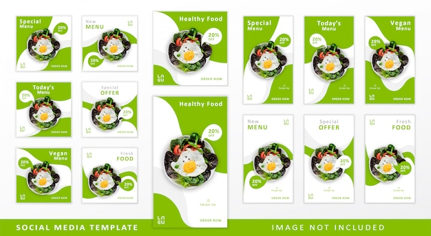 Шаблон социальных медиа для здоровой пищи