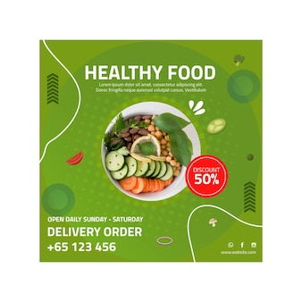 Healthy food square flyer template