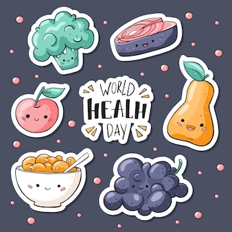 Коллекция стикеров здоровой пищи в стиле каракули