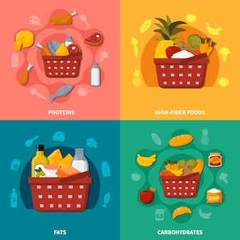 Healthy food supermarket basket composition