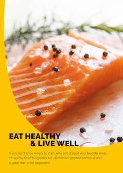 Healthy food template with fresh salmon marketing lifestyle poster in abstract memphis design