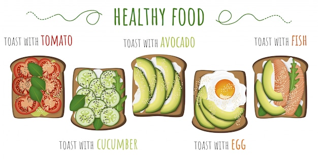 Healthy food. toasts with avocado, tomato, fried egg, cucumber and fish