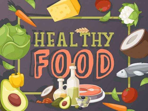 健康食品。 torクックブックカバー、食料品店のパンフレット、食品市場のブックレットカバー。健康的な食事を調理するための有機成分