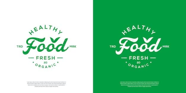 Healthy food typography logo or retro vintage label