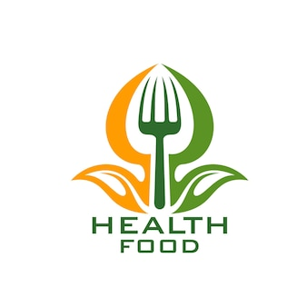 Healthy food vector icon with leaf vegetable and fork. fresh green and orange plant of organic farm with fork isolated emblem of health diet food, natural ingredient, eco and bio product design
