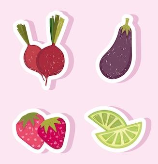 Здоровая пища, овощи и фрукты, баклажаны, лимон и свекла
