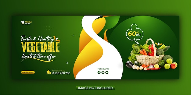 Healthy food vegetable and grocery social media facebook cover and web banner template