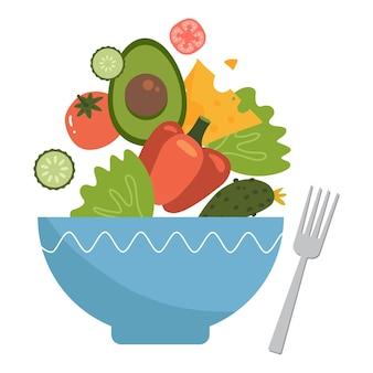 건강 식품, 큰 그릇 요소에서 나오는 야채 샐러드, 평면 그림