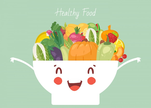Healthy food vegetables in cute kawaii bowl  illustration. veggies pepper, onion, pumpkin and eggplant, squash. healthy vegans food mixed in dish bowl.