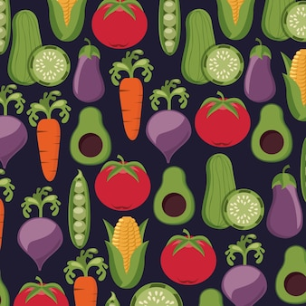 Healthy food vegetables fresh seamless pattern