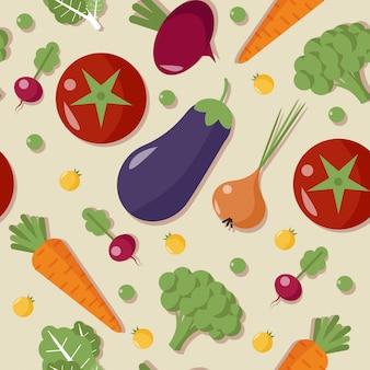 Healthy food vegetables seamless pattern