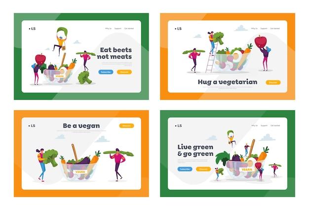 健康食品、ベジタリアンダイエットランディングページテンプレートセット。
