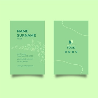 Healthy food vertical business card template