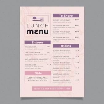 Modello di menu del ristorante vintage cibo sano