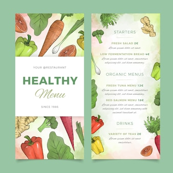 Healthy food watercolor restaurant menu template