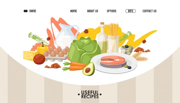 건강 식품 웹 사이트 디자인. 방문 페이지 템플릿, 유기농 제품 및 현지 재료로 만든 다이어트 식사 레시피.