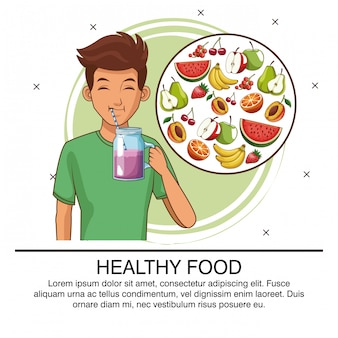 Healthy food young man poster