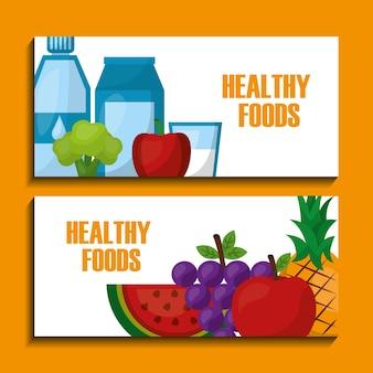 Healthy foods banners water milk juice fruits banners