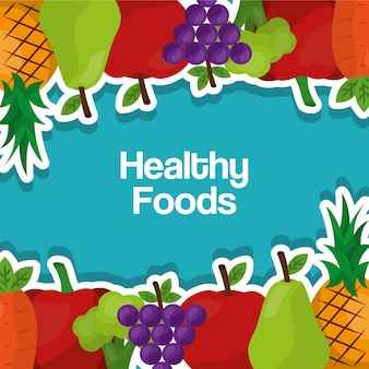Healthy foods lifestyle benefits fruits vegetables border