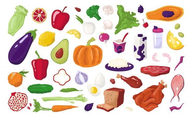 건강 식품, 영양은 다이어트 식사 삽화를위한 신선한 유기농 과일, 육류, 생선, 유백색 제품 및 야채를 설정합니다. 비타민, 자연 식생활, 농업 시장이 포함 된 건강식 메뉴.