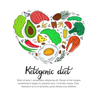 Healthy foods: vegetables, nuts, meat, fish. heart shaped banner in doodle style. keto diet. ketogenic nutrition.
