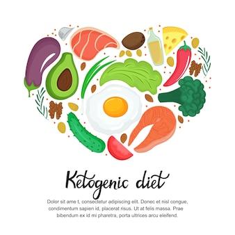 건강 식품: 야채, 견과류, 고기, 생선. 만화 스타일의 심장 모양의 배너입니다. 케토 다이어트. 케톤 생성 영양.