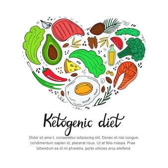 건강 식품: 야채, 견과류, 고기, 생선. 낙서 스타일의 하트 모양의 배너입니다. 케토 다이어트. 케톤 생성 영양.
