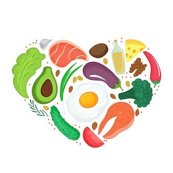건강 식품: 야채, 견과류, 고기, 생선. 심장 모양의 배너입니다. 케토 다이어트. 케톤 생성 영양