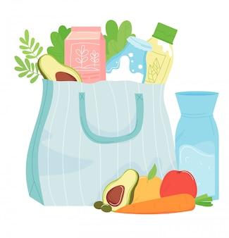 健康食品紙パッケージバスケット、食品牛乳、白、漫画イラストに分離された緑のハーブ。スーパーマーケットの買い物野菜の果物の食事。