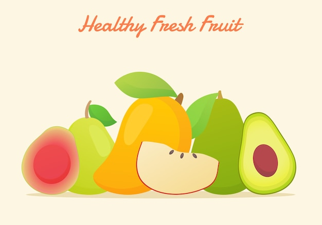 フラットカラースタイルで設定された健康的な新鮮な果物