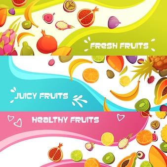Healthy fresh fruits appetizing horizontal banners set with orange banana and pineapple