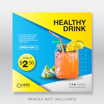Healthy fresh juice drink banner for social media post template