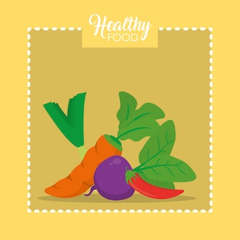 Healthy and fresh vegetables cartoons