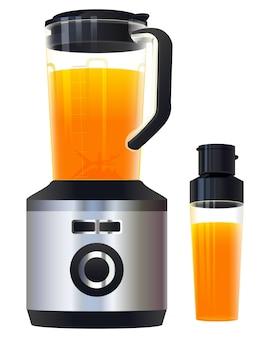 絞りたてのヘルシーなオレンジジュース。ブレンダーミキサーのフードプロセッサとジュースのガラス
