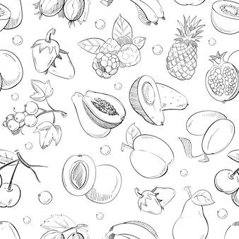 Healthy fruit hand drawn seamless  texture.