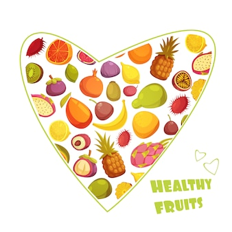 Healthy fruits diet advertisement with hart shaped assortment of pear banana grapefruit and pineapple abstract vector illustration