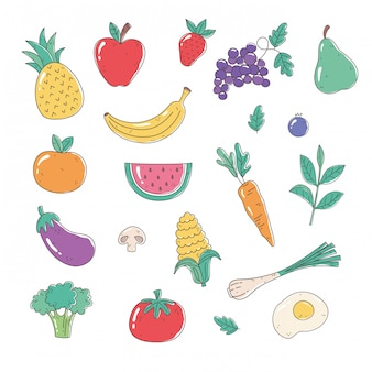 Healthy fruits and vegetables set