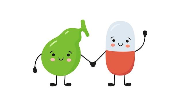 健康な胆嚢と幸せな笑顔の薬の丸薬のキャラクターが手をつないでいます。カワイイ薬カプセルとかわいい胆嚢のキャラクター。白い背景の上のベクトル分離イラスト。