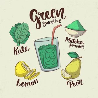 건강한 녹색 스무디 레시피 그림