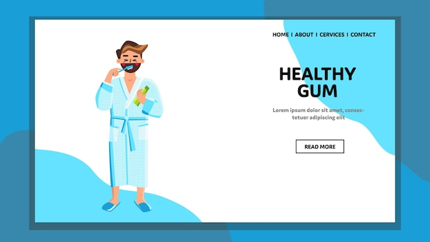 Healthy gum for protect teeth chewing man vector. young boy holding holding brush and healthy gum package, dental protective and healthcare. character hygiene treatment web flat cartoon illustration