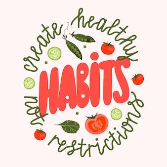 健康的な習慣のレタリング。ポスター、tシャツ、カードデザインの野菜のレタリング。健康的な食事の概念図。孤立した手書きのロゴスタイルテキスト。