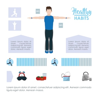 Healthy habits lifestyle infographic