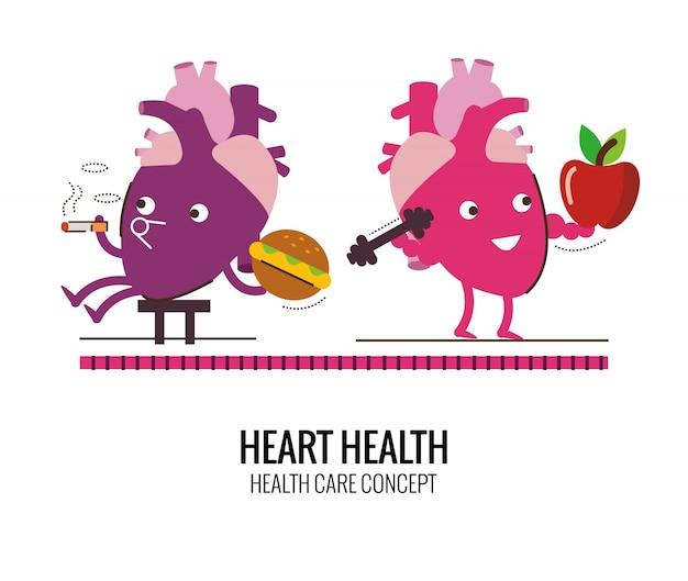 건강한 심장과 건강에 해로운 심장 특성. 흡연 및 콜레스테롤 위험. 캐릭터 선 플랫 디자인. 벡터 일러스트 레이 션