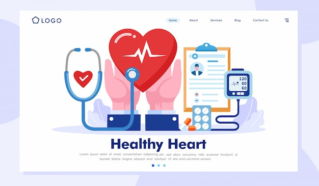 Healthy heart landing page website illustration vector template
