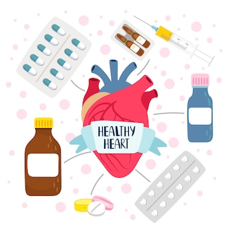 Healthy heart and pills